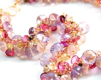 Pink Topaz Necklace, Amethyst Neckace, Tourmaline Necklace, Rose Quartz Necklace, 18K Gold Necklace, 14K Gold Necklace