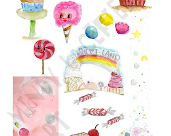 SWEETS Mixed media, journaling collage sheets - by Mindy Lacefield