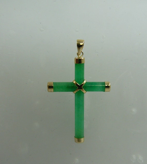 Jade Green Cross Pendant 14k Yellow Gold