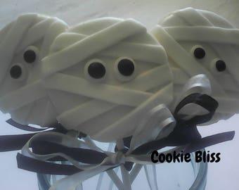 6 Mummy Cookie Lollipops Halloween Cookies Party Favors  Baked Goods Sugar Cookies Handmade Cookies Decorated Cookies Halloween Treats