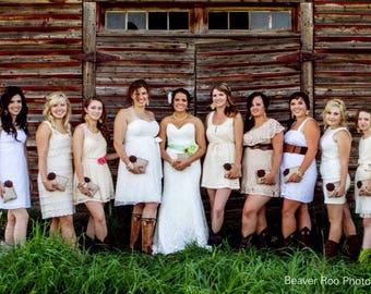 10 burlap and lace bridesmaid clutches, rustic wedding, woodland wedding, brown wedding, ivory wedding, lace wedding, bridesmaid gift
