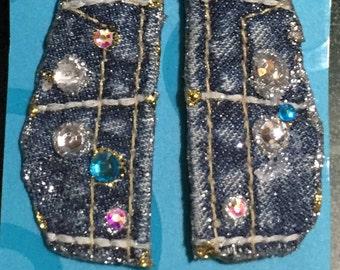 Blitz on Faded denim pierced earrings # P4