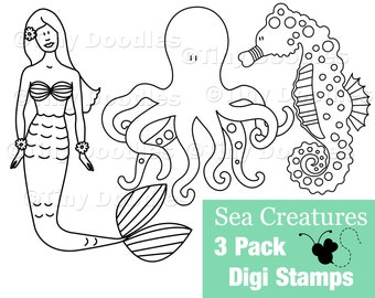Digital Stamps, Mermaid, Seahorse, Octopus, Digistamps, Digi Stamps, Digital Download, Digital Art, Digistamp Shop, Coloring
