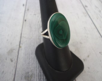 Vintage 925 Sterling Silver and Malachite Gemstone Ring, Size 9 1/4, 8 Grams, Estate Find