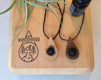 Handmade wood and lava stone diffuser necklace