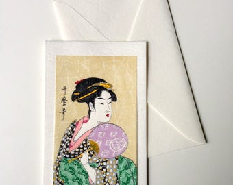 Card and envelope, pattern Japanese traditional UKIYOE UTAMARO BIJINNGA (F1324)