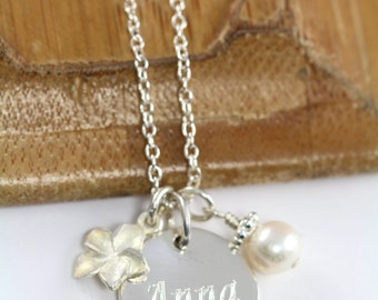 Gift for Flower Girl Necklace, Flower Girl Jewelry Name Necklace, Personalized Flower Girl, 925 Sterling Silver