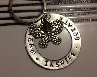 Personalised Dream Inspire Create Necklace or Keyring gift with charm