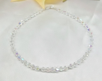 Clear AB Crystal Ankle Bracelet Clear AB Crystal Anklet With Swarovski Elements 100% 925 Sterling Silver Anklet BuyAny3+Get1 Free