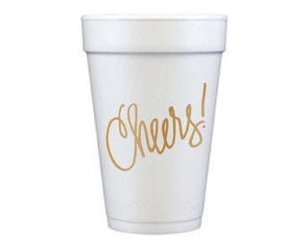 Foam Cups | Cheers! (gold)