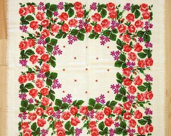 Châle en laine Vintage écharpe en laine avec motif floral #117