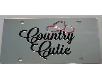 License Plate Country Cutie Mirrored Acrylic Car Tag