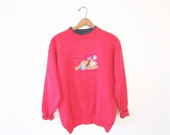 Vintage 80s/90s A DOG Is a Person Embroidered Pet Lover Sweatshirt Pullover Sz L