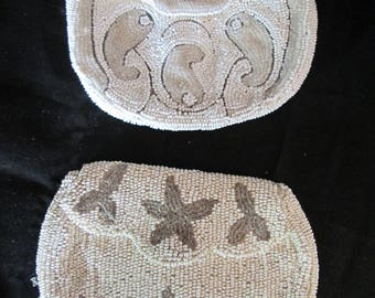 Set of 2 early 1900's hand beaded coin purses white ivory and silver beads beautiful