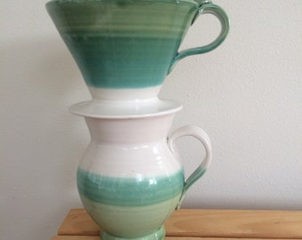 Pourover Coffee Maker, Ceramic Pour Over and Mug, Handmade Pottery Pour Over with Mug, in Stock, Ready to Ship