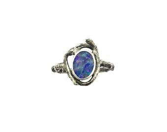 Opal ring, Australian Opal Ring, Opal Boho Ring, Sterling and Opal Ring
