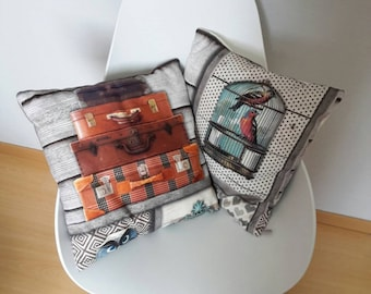 Pillow cover in vintage style, patterned owls, bags and the bird cage