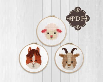 PDF Counted Cross Stitch Pattern  / cute cross stitch, lamb, goat, horse, how-to, embroidery, pattern, gift,supply, baby, nursery