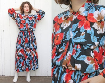 Vintage 80s Dress | 80s Hawaiian Hibiscus Floral Print Black Rayon Barboglio Dress | Large L XL