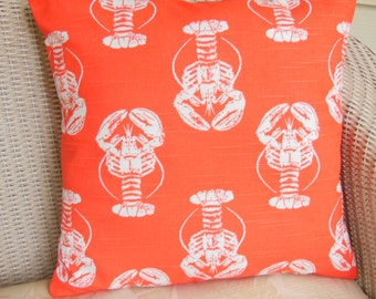 Beach Throw Pillow COVER Decorative Pillow Salmon/Coral Lobster Nautical Pillows ALL SIZES Coral Coastal Cottage Decor Patio Sofa Couch Sham