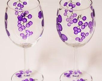Hand-painted Wine glasses, Handmade wine gift, WEDDING WINE Glasses, painted wine glass, purple wine glasses birthday gift, Bridesmaid gift