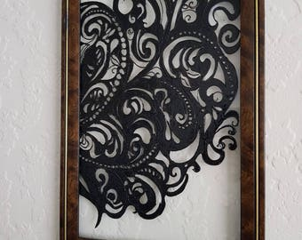 Swirls Glass Painting/Glass Art/ Hanging Art/ Framed Art/ Framed Painting/ Colourful Painting