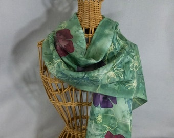 """Silk Scarf """"Moss Poppies"""", Hand Painted Silk Scarf, Moss Green Scarf"""