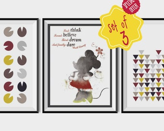 Set of 3 prints, Minnie, Minnie mouse print, Walt disney quote, Girls room decor, geometric poster, art for girls room, baby printables