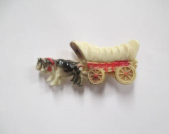 Vintage Celluloid Covered Wagon Brooch,  Antique Celluloid Jewelry, 1930s Molded Old Western Pin