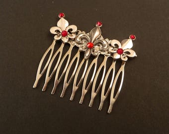 Hair comb with Fleur de lis ornaments in silver red bride hair jewelry gift woman