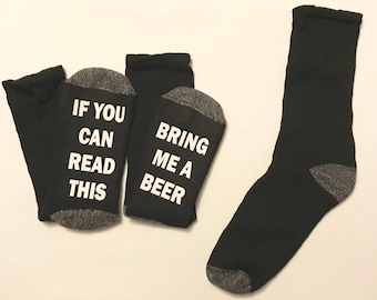 If you can read this bring me a beer socks Black Crew Mens