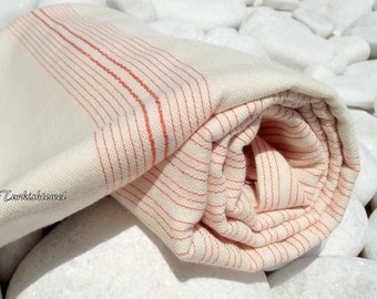 Turkishtowel-Very Soft-High Quality,Hand Woven,Bamboo,Cotton,Silk mixed,Bath,Beach,Spa Towel or Sarong-Orange Stripes on Natural Cream