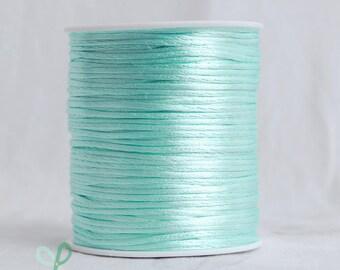 2mm x 100 yards Rattail Satin Nylon Trim Cord Chinese Knot - Aqua