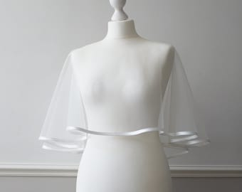 Ivory tulle bridal wedding cape shrug bolero with satin trim CHATHAM