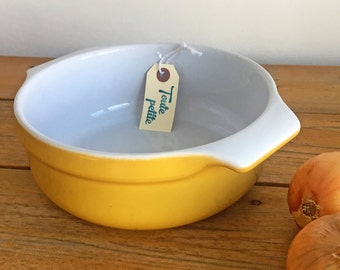 Yellow Casserole Dish/Emile Henry Ceramic Baking Dish/Made in France/Yellow Ceramic Bowl/French Cookware/Vintage French Casserole Dish
