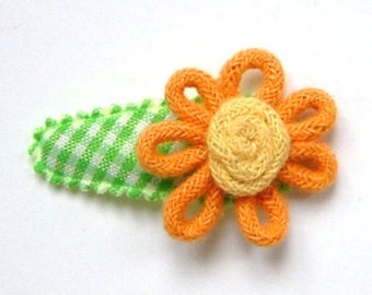 Baby Hair Clip in Green French Vichy