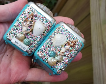 1950's Turquoise And Glitter New Orleans Souvenir Salt And Pepper Shakers