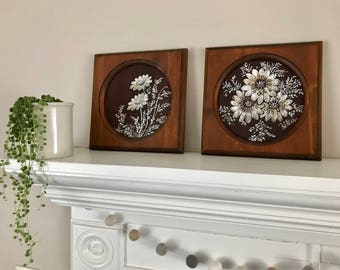 Pair of Vintage Floral Relief Paintings - Boho home decor