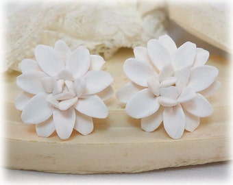 White Dahlia Earrings Stud or Clip On - Dahlia Jewelry