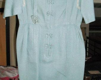 1940s Carlye Asian Inspired Light Blue Moygashel Irish Linen Dress