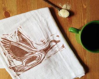 "wood block print ""wild goose"" tea towel by color.joy."