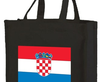 Croatian Flag Cotton Shopping Bag with gusset and long handles, 3 colour options
