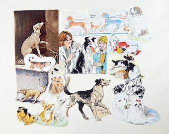 Dogs - Paper Craft Kit, Vintage Paper Ephemera,  cardmaking, journaling,  scrapbooking,  smash books, embellishment PE210