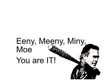 Eeny, Meeny, Miny Moe Negan decal for instant pot, appliance or crock pot