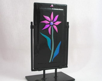 Pink Fused Glass Flower - Fused Art Glass Panel - Glass Flower Sculpture - Neon Pink Daisy on Black -  Dichroic Glass Decorative Panel