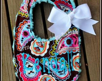 Baby Bib,Paisley,Turquoise Minky Swirl,Personalized,Baby Girl,Custom Made,Baby Gift