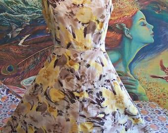 60s, Dress, Boatneck, Sleeveless, Watercolor, 1960s dress, size S