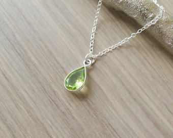 peridot gold products necklace sterling teadrop genuine close birthstone dainty august collections rose silver