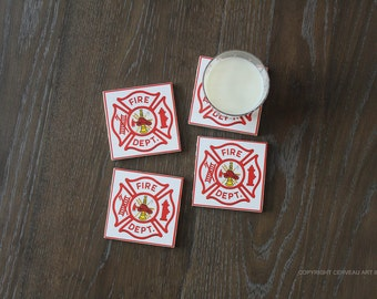 Firefighter Coaster - Firefighter Decor - Fireman Gift - Fireman Coaster - Fire Department - Firefighter Gift - First Responder -  Set of 4