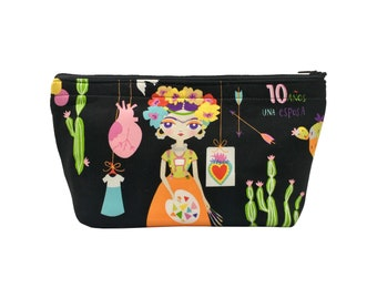 Frida Kahlo Print Go Bag // Makeup Bag // Cosmetic Organizer // Travel Organizer // Toiletry Organizer // Ready To Ship